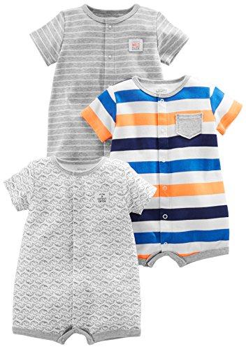 Simple Joys by Carter's - Pelele de bebé (3 unidades) ,Stripe, Whale, Tiger ,Recién nacido