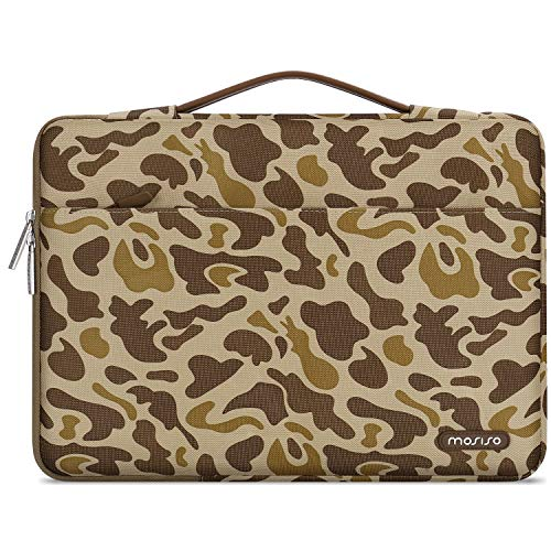 MOSISO Laptop Sleeve 360 Protective Case Bag Compatible with 13-13.3 inch MacBook Pro, MacBook Air, Notebook, Polyester Pattern Shockproof Handbag with Trolley Belt, Brown Giraffe Spots