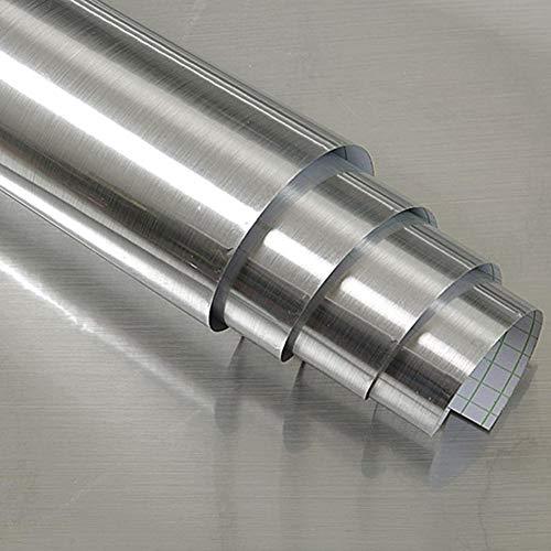 Hode Silber Klebefolie Selbstklebende Folie DIY Dekorfolie Wasserdicht PET+ PVC Metall-Optik 40X300cm