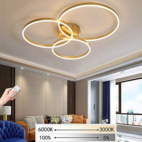 LED Plafondlamp Gouden Ring 3 Koplampen Dimbaar 3000-6000K Acryl Afstandsbediening Kinderkamer Afstandsbediening Plafondlamp Keuken Licht Gang Plafondlamp