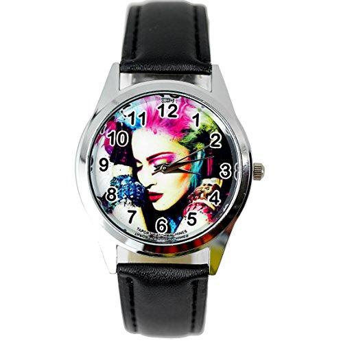 taport® Madonna Quarz Runde Uhr Schwarz Echt Leder Band Farbe Zifferblatt + Gratis Ersatz Batterie + Gratis Geschenkverpackung