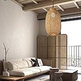 Jaula de bambú para lámpara colgante, soporte de lámpara, ventilador de techo, cubierta rústica, estilo vintage, solo jaula (grande de 30 x 60 cm)