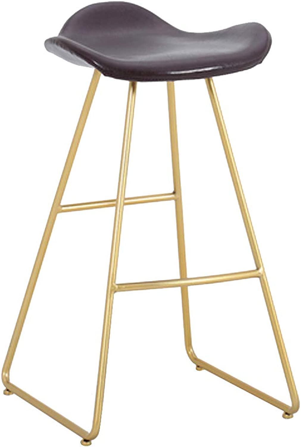 Metal Counter Stool Bar Hight Stools with Footrest and Back Modern Barstool Chairs for Kitchen Bistro Pub Cafe Coffee Faux Leather Seat gold Metal Legs, Brown