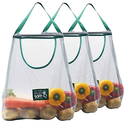 3Pack Reusable Produce Bags Mesh Bags Storage for Potatoes Onions Ecofriendly Washable Grocery Bags Hanging Mesh Organizer for Fruits Toys Vegetables Pantry Kitchen Doorway Over the Door Storage