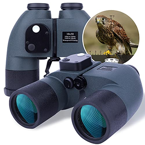 10X50 Prismáticos Marinos para Adultos Impermeable con Brújula Brújula BAK4 a Prueba de Niebla Prism Lens Binoculares Militar para Navegación Navegación Observación de Aves y Caza (LP015)