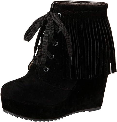 ZHRUI Stiefel schuhe de damen Stiefel de damen Moda con Cordones Borlas Tacón Alto Botines Cortos schuhe Casuales Stiefel de Invierno Hausschuhe de Deporte (Farbe   schwarz, tamaño   40 EU)