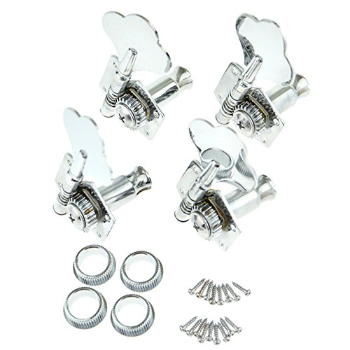 4 Right Hand Bass Guitar Tuning Pegs Bass Vintage Opened Machine Heads Chrome