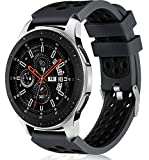 Lerobo 22mm Watch Band Compatible with Samsung Galaxy Watch 46mm/Galaxy Watch 3 45mm/Gear S3 Classic/Frontier,22mm Soft Silicone Breathable Watch Strap Wristband for Women Men,(Anthracite Black)