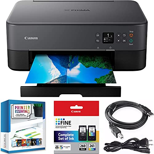 Canon PIXMA TS6420 All-in-One Wireless Color Printer with Print, Scan, Copy, Photo Print & Mobile Functions Bundle with DGE USB Cable + Small Business Productivity Software Kit