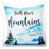 Little Cushion - Dekokissen Aquarell Faith Moves Mountains Kissen, 40x40cm Christliches Zierkissen...