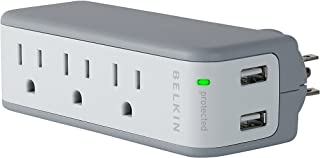 Wholesale CASE of 10 - Belkin Mini Surge Protector w USB Charger-Mini Surge USB Charger 3 AC Outlets 2 USB Outlets White