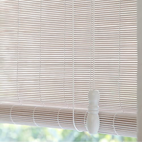 YUJIANHUAA Estor de bambú Blanco,Estor Enrollable de bambú Natural,persiana de bambú para Interior,Sombra Protector Solar Tipo De Rollo Pantalla Balcón Habitación,Personalizable (60x200cm/24x79in)