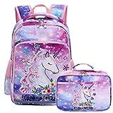 Kids Backpack for Girls Bookbag School Bag Preschool Kindergarten Toddler Backpack with Lunch Box Galaxy