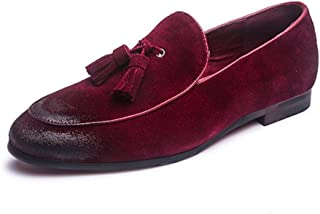 HaiNing Zheng Driving Loafers for Men Casual Shoes Slip on Style Genuine Leather Suede Upper Tassel Decorate Super Soft Round Toe Vintage Retro (Color : Red, Size : 7 UK)