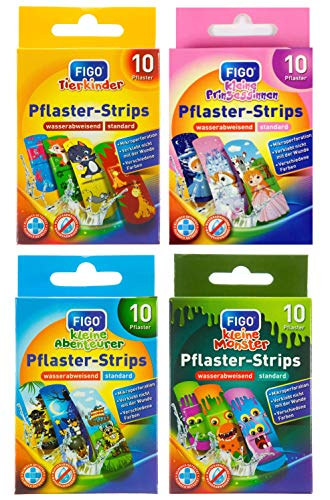 Kinder Pflaster Strips Bergmann Kinderpflaster Set, 40 x, Wasserabweisend, Hautfreundlich, Klinisch getestet, bunte Pflaster für Mädchen und Jungs