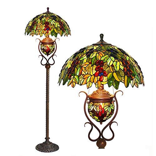 LAMP-XUE Tiffany-stijl vloerleeslamp met trekketting, 64 inch grote Europese pastoral kristallen korrel-schroeven-decoratie vloerlamp fixture