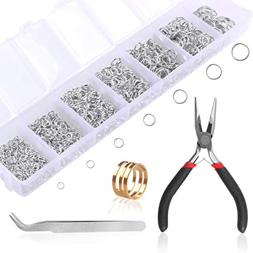 Jump Rings Jewellery Making Supplies, Eokeey Necklace Repair kit with Open Jump Ring,Needle Nose Plier and Tweezer,Silver Jewelry Findings Tools for DIY Earring,Bracelet,Keychain