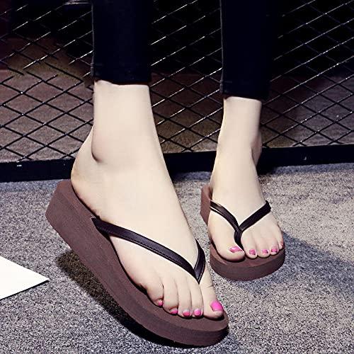 Ririhong Chanclas, Zapatillas de Moda de Verano para Mujer, Sandalias de tacón Alto, Zapatos de Playa de Suela Gruesa para Estudiantes femeninas-42_Brown (3cm)
