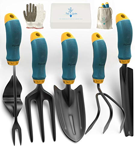 Gardening Tools Set from Alloy Steel - Heavy Duty Garden Tool Set with Rubber Non-Slip Handle - Gardening Kit with Gloves and Bag - Ergonomic Garden Hand Tools - Gardening Gifts for Men and Women