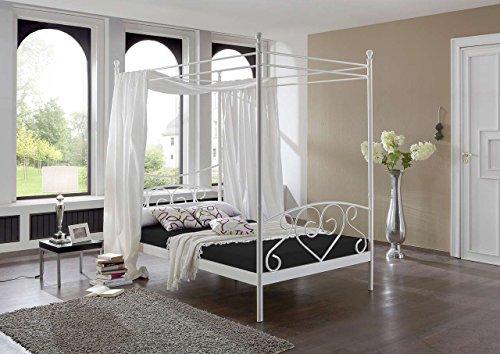 lifestyle4living Himmelbett 120x200, Weiß Federkern Matratze in Schwarz, Lattenrahmen, Kopfteil und Fußteil | Metallbett in Schmiedeoptik für einen romantischen Schlaf