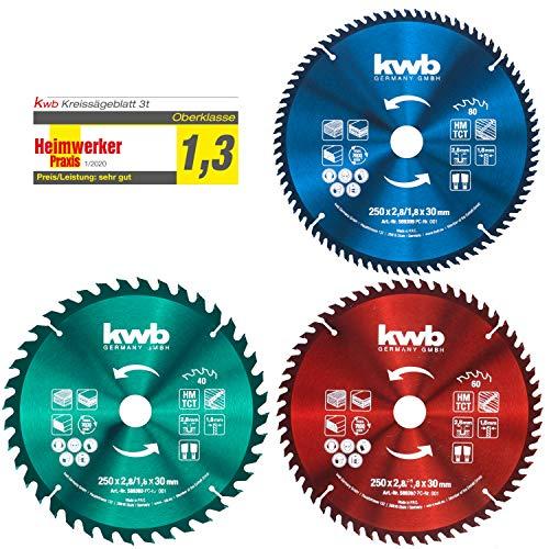 kwb Kreis-Sägeblatt-Set 250 x 30/25 / 16 mm für Handkreis-Sägen bzw. Tischkreissägen, f. Platten-Werkstoffe u. Baustoffe aus Holz inkl. Reduzier-Ringe auf 16 u. 25 mm