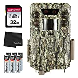 Bushnell 30MP Core DS Low-Glow Trail Camera, Camo + 32GB SD Card + 8 AA Batteries and Lens Cleaning...