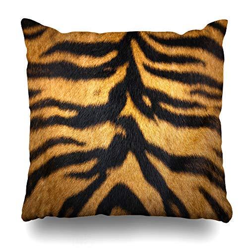 ZGNNN-EU Fundas de cojín de Piel de Tigre Cerrada de 18 x 18 Pulgadas con Cremallera, Fundas de Almohada para sofá, decoración del hogar