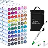61 Colors Alcohol Art Markers, Lelix 60 Colors Plus 1 Blender Dual Tip Permanent Marker Pens Highlighters Perfect for...