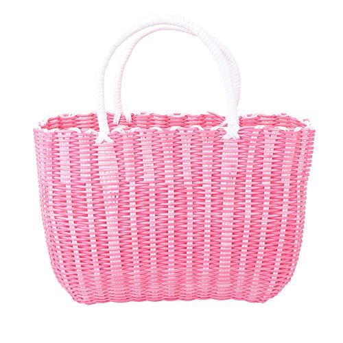 YARNOW 1 Pack Kunststoffkorb Gewebter Aufbewahrungskorb Tragbarer Einkaufskorb Home Basket (Rosa)