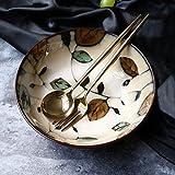 DLTCW Japanisch-Stil Vintage handbemalt Keramik Salat Schüssel Persönlichkeit Ramen Tiefe Suppe große Schüssel