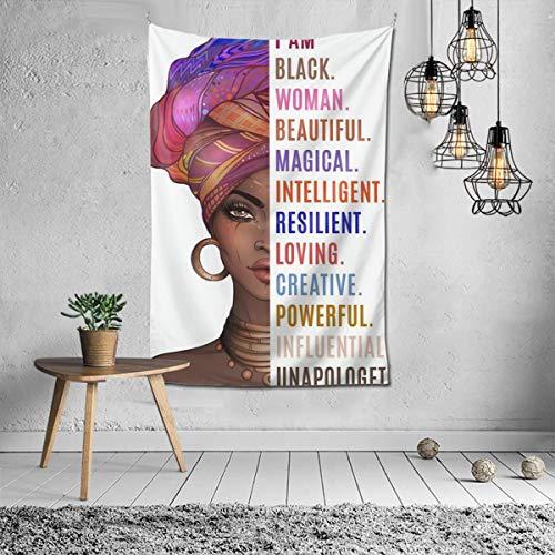 "Black Girl Tapestry Wall Hanging African American Women Tapestry Wall Art Hippie Tapestries for Living Room Bedroom Dorm Decor (40"" x 60"")"