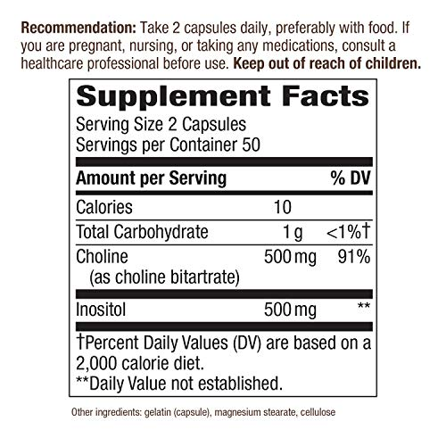 Nature's Way Choline and Inositol, 1,000 mg per serving, 100 Capsules