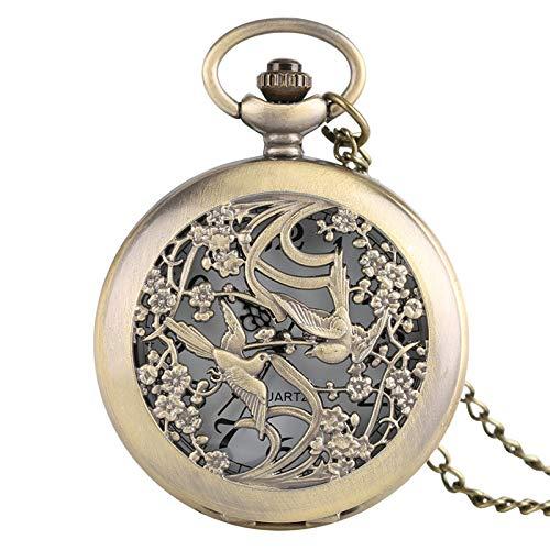 YHWW Taschenuhr Schöne Elster Uhren Halskette für Frauen Damen FreundeBlume case feine Quarz taschenuhr pflegeuhren anhänger