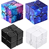 4 Pieces Infinity Cube Fidget Toys Prime Mini Infinity Cube Desk Toy for Stress and Anxiety Relief Sensory Tool Supplies for Adults (Black, White, Starry, Starry Purple)