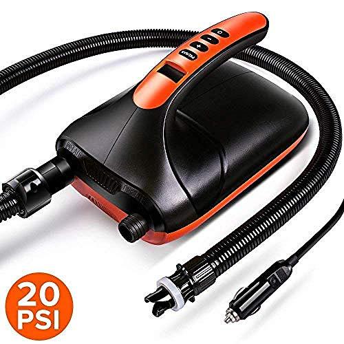 YAYY elektrische pomp SUP pomp 20 PSI 12 V DC hogedruk met automatische uitschakelfunctie in twee stappen (upgrade)