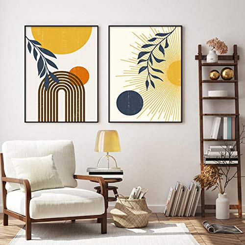 """Modern Sun Moon Abstract Mid Century Canvas Painting Wall Poster Print Boho style Picture Living Room Home Decor-19,7 """"x27,5"""" (50x70cm) x2 Bez ramki"""