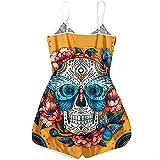 Vexiangni Conjunto de pijama de una pieza para mujer, diseño de esqueleto, ropa de noche, para Halloween, disfraz de carnaval, talla única, Amarillo H, M