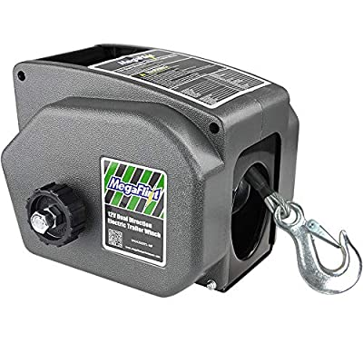 Megaflint Trailer Winch,Reversible Electric Winch, for Boats up to 6000 lbs.12V DC,30% Higher Winching Power Than Regular 6000 lbs Winch. (6000 lbs)
