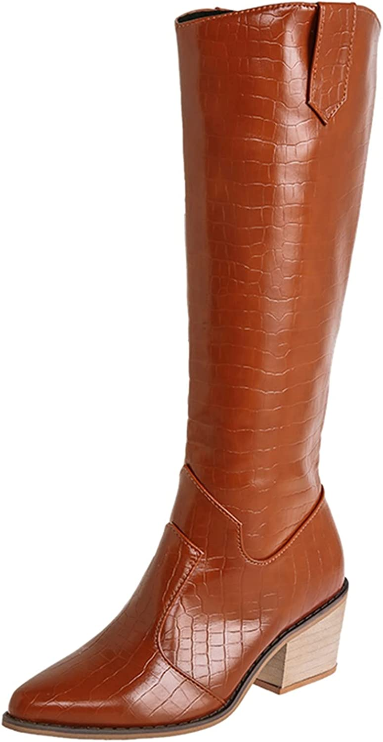 Solid Color Boots for Women Heels Vintage Outlet sale feature Breathable Miami Mall High Chunky