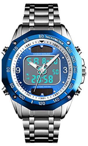 Men's Watches Solar Sports Analog Digital Watch Men Dual Display Stainless Steel Waterproof LED Wrist Watch (Silver Blue)