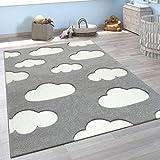 Alfombra Infantil Adorable Colores Pastel Motivo Nubes Pelo Corto En Gris Blanco, tamaño:120x170 cm