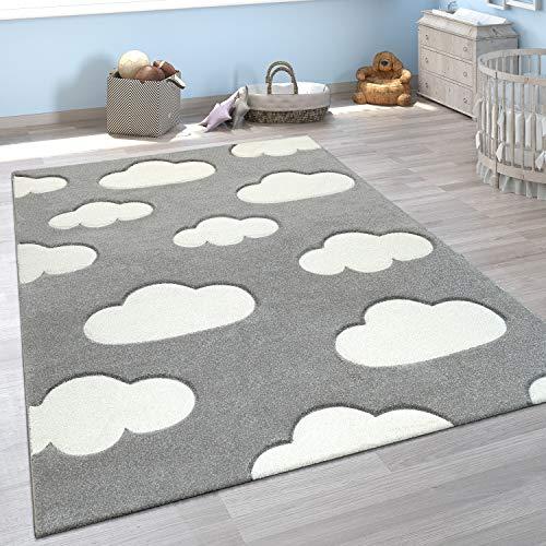 Paco Home Kinderzimmer Teppich Grau Weiß Pastellfarben Wolken Motiv Kurzflor 3-D Design, Grösse:120x170 cm