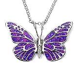 Dije violeta de mariposa - Collar de plata con insecto - Joyas en arcilla polimérica -...