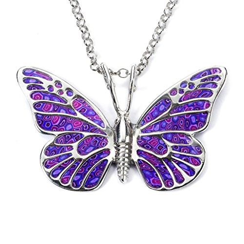Sterling Silver Womens 1mm Box Chain Large Yellow And Purple Enameled Butterfly Pendant Necklace