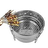 ZCZZ Griglia da Tavolo, griglia per Barbecue a Carbone Portatile, griglia per Barbecue in Acciaio Inossidabile, griglia per Fumatori, griglia combinata per Fumatori per Cucinare/Pranzo/Picnic all