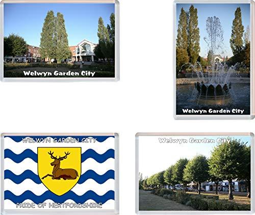 Welwyn Garden City - Hertfordshire - 4 Pack - Jumbo Fridge Magnet/Magnets Gift/Souvenir/Present