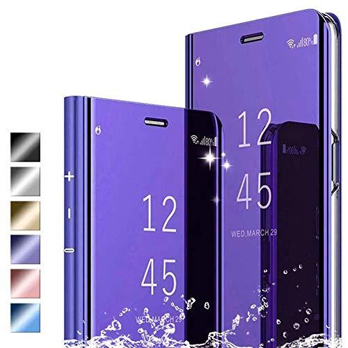Hikissny Funda iPhone 12 Pro 6.1' Cáscara, Ultra Delgado Inteligente Espejo Brillante Funda [Soporte Plegable] [Anti-Scratch] Flip Caso Clear View Case Cover para iPhone 12 Pro 6.1', Púrpura