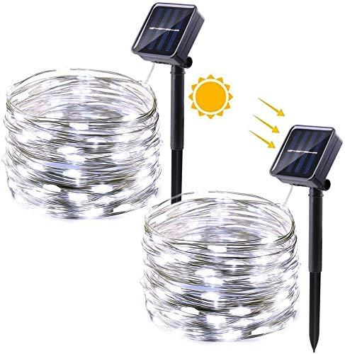 Qedertek 2 Stück Solar Weihnachtsbeleuchtung Außen, Solar Lichterketten Aussen 12M, 100 LED Solar Kupferdraht Lichterkette Wasserdicht, Solarlichterkette für Weihnachts, Garten, Balkon (Weiß)