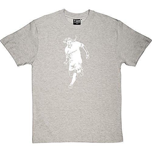Jay Jay Okocha Melange Grey/Ash Men's T-Shirt Small (White Print)