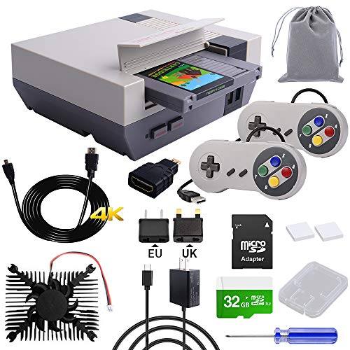 owootecc RETROFLAG NESPi 4 Case Kit, Raspberry Pi 4 Case with SSD CASE, Power Supply HDMI Splitter Switch & Cooling Fan & Heatsinks & USB Wired Game Controllers for Raspberry Pi 4 Model B